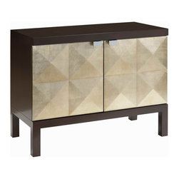 Kathy Kuo Home - Sterling Raised Diamond Hollywood Regency Gold Leaf Cabinet - In a small entry, a living room, or bedside, this cabinet sparkles like a Hollywood starlet. It's classic and modern, in an espresso finished frame boasting diamond-patterned, silver leaf doors. Inside it's all business, with shelves to hold all your stuff.
