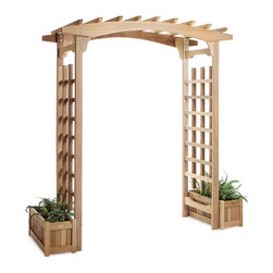 All Things Cedar - All Things Cedar PA96U-S Pagoda Arbor w/ Planter Boxes - Set includes:  1 PA96 Pagoda Arbor and 2 -PL20U Planter Boxes    Dimensions:   91 x 86 x 87 in. (w x d x h)
