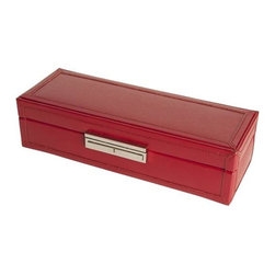Wolf Designs - Queen's Court Safe Deposit Travel Box - Red - A true Wolf Design classic. This Queen's Court travel jewelry box from the royal collection of handcrafted jewel cases and travel accessories is made of red saffiano leather. Features soft, brushed camel LusterLoc treated interiors, multiple storage compartments, key lock closures and shiny chrome fittings. Includes a removable mini travel case.