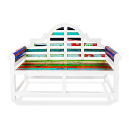 EcoChic Lifestyles - Atlantis Reclaimed Wood Garden Bench - The Atlantis Bench is a majestic piece fit for an island kingdom. Ornate scrolled white framing showcases colorful slats of reclaimed wood still bearing its original marine paint. With careful construction done by hand, this heirloom piece can grace your entryway or courtyard for years to come.