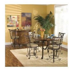 """Riverside Furniture - Stone Forge Barstool in Tuscan Sun (Set of 2) - The stately refined Stone Forge Barstool in Tuscan Sun finish is a work of art! This barstool is softened by its buckskin fabric seat for lasting comfort and will make a wonderful addition to your home. Features: -Hand forged iron in antique bronze finish. -Swivel seat. -Comfortable upholstered seat cushion in lightly textured, tightly woven fabric in subtle blend of earth tone colors (fabric made of 100% polyester). Dimensions: -Seat height: 30"""". -Overall: 46.75"""" H x 23.75"""" W x 24.50"""" D, 46 lbs."""
