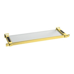 Windisch - 22 Inch Glass Bathroom Shelf In Gold With Black Crystals - Stylish 22.1 inch wall mounted rectangular glass bathroom sink.