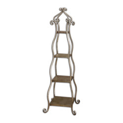 Uttermost - Lilah Silver Leaf Etagere - Decorative, Hand Forged Metal With A Lightly Burnished, Silver Leaf Finish And Subtle Champagne Patina. Bulbs Included: No
