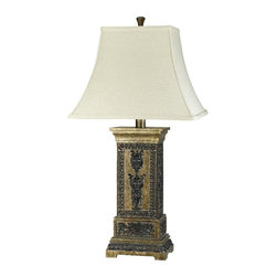 Cal Lighting - Marion 3-Way Table Lamp w Rectangular Bell Fabric Shade - Requires 150W bulb (not included). 3-Way. Marion table lamp. Nuances finish. Height: 31 in.. Base: 7.75 in. x 5.38 in.