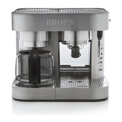 Krups® Combination Espresso-Coffee Maker - This clever combination machine serves up coffee, fast. Whether you desire a full pot or a quick cup, a robust espresso or a barista-quality brewed drink, this all-in-one system is designed to make it snappy without sacrificing an iota of excellence. For use with any type of ESE pods or ground coffee, the coffee maker brews up to 10 cups with an auto safety shut-off and nonstick warming plate to keep contents hot for hours. The espresso side features a 19-bar Italian pump, three functions (espresso, hot water and frothing), thermoblock heating and auto-stop. Drip tray is adjustable for varying cup sizes. Additional features include electronic touch controls, 50-oz. front-access water tank, pause-and-serve feature and removable cone filter basket.