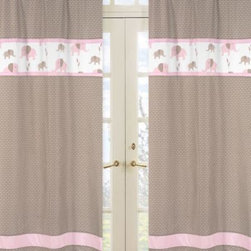 Sweet Jojo Designs - Sweet Jojo Designs Mod Elephant Window Panel Pair in Geo Print in Pink/Taupe - The Pink and Taupe Mod Elephant Collection of bedding and accessories from Sweet Jojo Designs will help you design an incredible room for your child. This adorable set features a fun elephant print and pink, taupe and white colors.