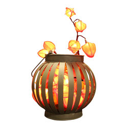 The Firefly Garden - The Gold Rush - Illuminated Floral Design, Modern Metal Lantern - This illuminated floral arrangement, reminiscent of gold nuggets shimmering at the bottom of a flowing stream, ushers in the Fall season and the warm, festive mood of the changing seasons. Glowing orange Chinese Lantern Flowers illuminate either a classic glass or metal lantern.