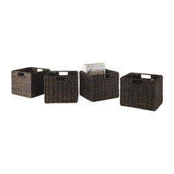 Winsome Wood - Small Baskets in Chocolate Finish - Set of 4 - Set of 4. Chocolate finish. No assembly required. Baskets opening: 11 in. W x 10.24 in. D x 9 in. H. Folded: 19.88 in. W x 2.36 in. D x 9.45 in. H