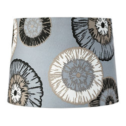 """Lamps Plus - Contemporary Blue Dandelion Drum Lamp Shade 13x15x11 (Spider) - This charming drum shade is characterized by its large-scale dandelions in black tan and white hues against a muted blue background. Crafted from a velvety cotton polyester fabric the design features rolled edges and a chrome finish spider fitter that lets you move the shade from lamp to lamp. The correct size harp and finial are included with this purchase. Drum lamp shade. Floral pattern. Black tan and white color palette on a muted blue background. Polyester fabric. Rolled edges. Chrome spider fitter. Unlined. 13"""" across the top. 15"""" across the bottom. 11"""" on the slant.  Drum lamp shade.  Floral pattern.  Black tan and white color palette on a muted blue background.  Cotton polyester fabric.  Rolled edges.  Chrome spider fitter.  Unlined.  13"""" across the top.  15"""" across the bottom.  11"""" on the slant."""