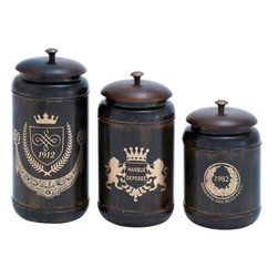 Benzara - Canisters with Cylindrical Jars and Matching Lids - Set of 3 - Upgrade the visual appeal of your decor with this set of stylish and elaborately designed METAL CANISTERS. The ravishing design of these canisters is inspired from classic style furniture pieces and is ideal for lending a refined touch to different room settings. These charming canisters are crafted from high grade metal to impart superior durability to the design. Crafted of top quality metal, this set of canisters is bound to bring elegance to whichever room you prefer to keep these canisters. This set of three metal canisters is also a perfect gift for those interested in collecting such collectibles. Resistant to easy wear and tear, this set of metal canisters will retain its shining visual beauty for long. Graceful figures and stylish curved accents detailing the canisters lend a distinctive look and uplift design aesthetics by several degrees.