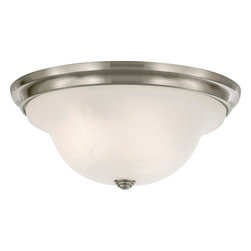 Murray Feiss - Murray Feiss Vista Traditional Flush Mount Ceiling Light X-SB252MF - From the Vista Collection, the elegant curvature of this Murray Feiss flush mount ceiling light adds a refined, classic appeal to any room. This traditional ceiling light comes finished in a Brushed Steel hue that emphasizes the clean tones of the crisp white alabaster glass diffuser.