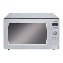 Panasonic - 1250W, 2.2 Cu Ft. Sensor, Stainless Front and Silver Body - The Panasonic NN-SD997S 2.2 Cu. Ft. 1250W Genius Prestige Sensor Microwave Oven with Inverter Technology is perfect for the countertop or built-in installation. Unlike other microwave ovens, Inverter technology delivers a seamless stream of cooking power, even at lower settings, for precision cooking that preserves the flavor and texture of your favorite foods. With Inverter, you can poach, braise and even steam more delicate foods, all with the speed and convenience of a microwave! With the touch of our Genius Sensor cooking button, this microwave takes guesswork out of creating a great meal by automatically setting power levels and adjusting cooking or reheating time. The sensor measures the amount of steam produced during cooking and signals the microprocessor to calculate the remaining cooking time at the appropriate power level. Plus with Turbo Defrost, you can evenly thaw foods faster than ever!