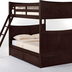 NE Kids - Schoolhouse Taylor Full over Full Bunk Bed - Chocolate - FUB399 - Shop for Bunk Beds from Hayneedle.com! The Schoolhouse Taylor Full over Full Bunk Bed - Chocolate will set the stage for many nights of delightful dozing. This handsome bed is solidly constructed from hardwood and finished in a chocolate brown so appealing you'll almost want to eat it (but seriously don't). You'll also revel in your options: choose between a closed or open footboard and consider the optional trundle bed (fantastic for sleepovers) privacy panel and drawers (storage is invaluable) for extra functionality. To put your mind at ease this piece comes with a guardrail and a sturdy ladder both interchangeable to adapt to any space and placement. This bed measures 81L x 56.5W x 71H inches. We take your family's safety seriously. That's why all of our bunk beds come with a bunkie board slat pack or metal grid support system. These provide complete mattress support and secure the mattress within the bunk bed frame. Please note: CPSC recommends the tops of the guardrails must be no less than 5 inches above the top of the mattress and that top bunks not be used for children under 6 years of age. About New Energy KidsNE Kids is a company with a mission: to create and import truly unique furniture for your child. For over thirty years they've been accomplishing this mission with flying colors one room at a time. Not only will these products look fabulous they will provide perfect safety for your children by adhering to the highest standards set by the American Society for Testing and Material and the Consumer Products Safety Commission. Your kids are in the best of hands and everyone will appreciate these high-quality one-of-a-kind pieces for years to come.
