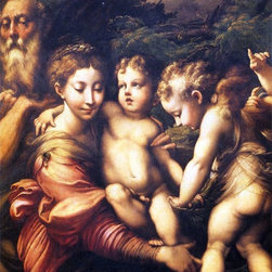 """Girolamo Mazzola (Parmigianino) The Holy Family  Print - 16"""" x 20"""" Girolamo Mazzola (Parmigianino) The Holy Family premium archival print reproduced to meet museum quality standards. Our museum quality archival prints are produced using high-precision print technology for a more accurate reproduction printed on high quality, heavyweight matte presentation paper with fade-resistant, archival inks. Our progressive business model allows us to offer works of art to you at the best wholesale pricing, significantly less than art gallery prices, affordable to all. This line of artwork is produced with extra white border space (if you choose to have it framed, for your framer to work with to frame properly or utilize a larger mat and/or frame).  We present a comprehensive collection of exceptional art reproductions byGirolamo Mazzola (Parmigianino)."""