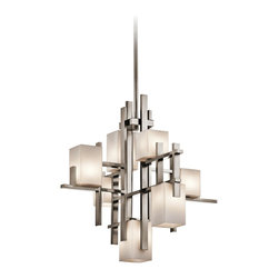 "Kichler - Contemporary Kichler City Lights Steel 23.5"" Wide Chandelier - This stylish chandelier from Kichler features distinctive urban flair and sports a steel finish. Its architectural design is what makes it memorable. This contemporary fixture is elegant and versatile. Steel finish. Takes seven 50 watt bulbs (included). 23 1/2"" wide. 23 3/4"" high. 25 3/4"" long.  Steel finish.  Design by Kichler lighting.  Takes seven 50 watt bulbs (included).   23 1/2"" wide.   23 3/4"" high.   25 3/4"" long."