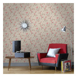 Graham & Brown - Rose Cottage Wallpaper - Classical rose cottage wallpaper - this small scale climbing rose wallpaper compliments the other floral papers in this collection and also compliments the colours which have been put to gether the silver, lilac, pink and yellow will add a soft side to you but will also add the relaxing feel to your home.