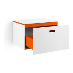 WS Bath Collections - Ciacole Orange Cabinet With Drawer - Ciacole 8060 Base Cabinet with One Drawer in Orange Painted Aluminum and White Mattstone, Base Cabinet with One Drawer, Designed for Use With a Vessel (Countertop) Bathroom Sink In Orange Painted Aluminum and White Mattstone, Free Standing, Made in Italy