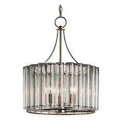 Kathy Kuo Home - Industrial Loft Modern 3 Light Bud Vase Round Chandelier - Small - A circular gleam emanates out from this industrial metalwork chandelier, shining forth through a bevy of bud vases. The open design and clear glass construction lend an airy feel to your modern loft space.