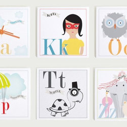 Individual Alphabet Nursery Wall Art Print Set by Modern Pop - Alphabet flashcards or prints act as educational artwork. My son loves to sing the ABCs while looking at his, so naturally I'm including some in my daughter's room as well. This set is lovely, but if it's out of your price range, look online for free printable versions — that's what I did!