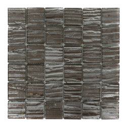 """GlassTileStore - Terrene Rosewood 2x2 Glass Tile - TERRENE ROSEWOOD 2x2 GLASS TILE  This striking glass can make any room atheistically appealing. The wavy finish brings a distinctive design and will add a nice touch for a contemporary and modern room. This tile is great to use for the bathroom, kitchen or pool installation.      Chip Size: 2x2   Material: Glass   Color: Metallic Bronze and Platinum   Finish: Polish   Sold by the Square Foot - each sheet measures 12""""x12"""" (1sq. ft.)   Thickness: 3mm             - Glass Tiles -"""