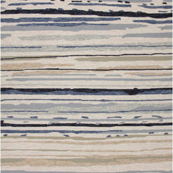 Jaipur - Colours Ivory and Blue Rectangular: 5 Ft. x 7 Ft. 6 In. Rug - - Bring visual �pop� to outdoor living with the Colours I-O Collection. This energetic range of stripe, zigzag and stair-step designs bring together a myriad of multicolor palettes � all in durable, hand-hooked polypropylene construction. With its fashion-forward styles and bold scale, each design can function in a broad range of contemporary and transitional spaces � both indoor and out  - Cleaning and Care: Polyester is dirt and stain resistant and will look great for a long time just by vacuuming regularly. Dries fast so deep steam/rug cleaning works great to release dirt from fiber. If spills occur blot immediately. Use rug/carpet cleaners that are safe on synthetic fibers. Use professional cleaning agents only. To vacuum use an attachment arm or suction only to remove dirt particles  - Backing Material: Latex  - Companion Item: Rug Pad  - Pile Height: 0.25  - Construction: Indoor-Outdoor  - It is Sustainable  - Durable  - Easy Care  - Looped Pile  - Abstract Jaipur - RUG101282