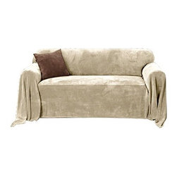 Sure Fit - Plush Throw Sofa Slipcover - Protect your furniture with the soft and luxurious Plush throw. Redecorating is a snap! Just place one of the Plush furniture throws over your sofa, chair or loveseat and enjoy a great new style at an affordable price! Features: -Wheat fabric.-100% Polyester material.-Machine wash separately in cold water, gentle cycle.-Tumble dry on low heat.-Imported.-Do not use bleach.-Do not iron.-Collection: Plush.-Distressed: No.Dimensions: -Dimensions:170'' W x 70'' D.-Overall Product Weight: 4.5 lbs.