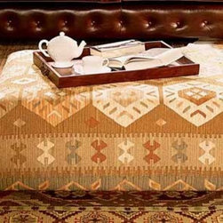 Kilim Small Coffee Table - Kilim rugs are part of a long tradition of weaving. Now you can add global charm to your home with this kilim-inspired upholstered coffee table/ottoman.