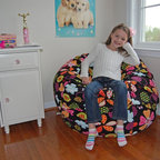 "Bean Bag Chairs for Girls Rooms - Ahh! Products Flowers and Dots anti-pill fleece bean bag chair. Remove and wash cover, water-repel liner. 37"" wide large size. 10 year warranty, Made in USA."