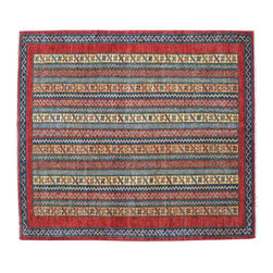 1800-Get-A-Rug - Multicolored Hand Knotted 100% Wool Tribal Super Kazak Oriental Rug Sh15492 - Our Tribal & Geometric Collection consists of classic rugs woven with geometric patterns based on traditional tribal motifs. You will find Kazak rugs and flat-woven Kilims with centuries-old classic Turkish, Persian, Caucasian and Armenian patterns. The collection also includes the antique, finely-woven Serapi Heriz, the Mamluk Afghan, and the traditional village Persian rug.