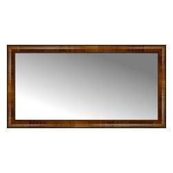"""Posters 2 Prints, LLC - 42"""" x 22"""" Belmont Light Brown Custom Framed Mirror - 42"""" x 22"""" Custom Framed Mirror made by Posters 2 Prints. Standard glass with unrivaled selection of crafted mirror frames.  Protected with category II safety backing to keep glass fragments together should the mirror be accidentally broken.  Safe arrival guaranteed.  Made in the United States of America"""
