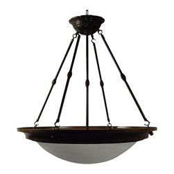 YOSEMITE HOME DECOR - 5 Lights Pendant Lighting in Brown - - Dark Brown Frame with White Alabaster Shade