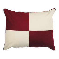"Inviting Home - Nautical Pillowcase (U Flag) - deccorative pillowcase 20""x 26"" Like the real classic signal flags our pillowcases are stitched of solid color canvas sections not printed. Bold colors as specified in the international flag code manual. Fun and decorative these pillowcases can be used anywhere - beach house kids room inside or out on the porch. Each pillowcase has hidden back zipper and contrasting canvas trim."