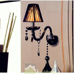 Modern Black Crystal Wall Lights with Fabric Lampshade - Weight:4.5 KGram