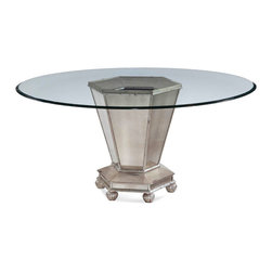 Bassett Mirror Company - Bassett Mirror Reflections Round Mirrored Dining Table in Antique Cream - Round Mirrored Dining Table in Antique Cream belongs to Reflections Collection by Bassett Mirror Company Antique mirrored glass with wood in antique cream with silver accenting. Table Base (1) , Table Top (1)