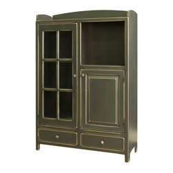 Chelsea Home - Samuel Pottery Pantry Cabinet - Dovetail base drawers. Handcrafted. Display cabinets. Tack slides on feet to prevent scuffing and easy mobility. Made from premium grade eastern white pine. Candleberry green finish. 43 in. W x 16 in. D x 65 in. H (150 lbs.). Made in U.S.A. No assembly requiredChelsea Home Furniture proudly offers American made heirloom quality furniture. What makes heirloom quality furniture? Its knowing how to turn a house into a home. Its clean lines, ingenuity and impeccable construction derived from solid woods, not veneers or printed finishes over composites or wood products, the best nature has to offer. Its creating memories. Its ensuring the furniture you buy today will still be the same 100 years from now! Every piece of furniture in our collection is built by expert furniture artisans with a standard of superiority that is unmatched by mass-produced composite materials imported from Asia or produced domestically. In addition, our craftsmen use tongue-in-groove construction and screws instead of nails during assembly and dovetailing, both painstaking techniques that are hard to come by in todays marketplace. Whether you are displaying your finest china in your kitchen or dining room or using it as a wardrobe in your bedroom, the versatile and unique design of the pantry makes a great addition to any room. So adorn your home with a piece of furniture that will be future history, investment that will last a lifetime. Screws, rather than nails or staples used to hand assemble furniture providing greater durability and strength.