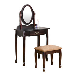 "Adarn Inc. - Queen Anne Style Vanity Set Cherry Wood Swivel Mirror Make Up Dresser w/ Drawer - This sophisticated Queen Anne Style Cherry Make Up Vanity Set will be a wonderful addition to your traditional master bedroom or dressing area. A lovely oval swivel mirror is attached, adding light and depth to your room, while helping you get ready for your day. A pretty shaped apron and elegant cabriole legs complete this vanity, all in a warm Oak or dark Cherry finish, accented with an antique style gold tone metal bail handle. The matching stool has the same elegant cabriole legs, and a soft fabric covered seat for a regal look and feel. Add this sophisticated vanity set to your home to create an inviting look that you will truly love. Vanity: 27 1/2"" W x 16""D x 50""H; Bench: 18""W x 13""D x 17""H"