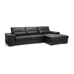 Baxton Studio - Baxton Studio Dolan Black Leather Modern Sectional Sofa with Right Facing Chaise - This contemporary couch creation is truly fit for the modern home. A two-piece designer sectional sofa, the Dolan Modern Sofa is a two-piece set including both a chaise lounge and sofa that can be connected to one another with use of the metal bracket system. Manufactured in Malaysia, a solid hardwood frame, foam cushioning, black bonded leather, and black plastic legs make this a sturdy, comfortable set. Adjustable headrests are a useful, convenient feature. The Dolan Contemporary Sofa requires minor assembly, should be wiped clean with a damp cloth, and is also available with a left facing chaise lounge (sold separately).