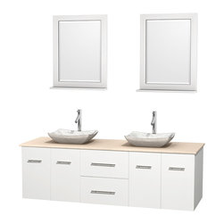 """Wyndham Collection - Centra 72"""" White Double Vanity, Ivory Marble Top, White Carrera Marble Sinks - Simplicity and elegance combine in the perfect lines of the Centra vanity by the Wyndham Collection. If cutting-edge contemporary design is your style then the Centra vanity is for you - modern, chic and built to last a lifetime. Available with green glass, pure white man-made stone, ivory marble or white carrera marble counters, with stunning vessel or undermount sink(s) and matching mirror(s). Featuring soft close door hinges, drawer glides, and meticulously finished with brushed chrome hardware. The attention to detail on this beautiful vanity is second to none."""