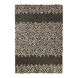 "Peking Handicraft - Pebble Parade Hook Rug - The Peking Pebble Parade hook rug channels cool, coastal style. This floor covering's cream circular pattern makes an alluring striped print across a brown background.  34""W x 47""H; 100% cotton and wool; Dry clean only; Rug pad recommended"