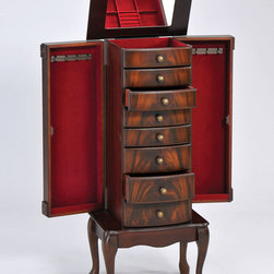 """Acme Furniture - Vivan Jewelry Armoire in Cherry - Vivan Jewelry Armoire in Cherry; Finish: Cherry; Materials: MDF with veneer, Solid Wood Legs; Weight: 97 lbs; Dimensions: 19"""" x 13"""" x 42""""H"""