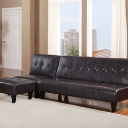 "Acme - Conrad Espresso Leather-Like Adjustable Sofa Futon Bed with Tufted Back - Conrad espresso leather like adjustable sofa futon bed with tufted back and dark finish legs. This features a leather like upholstery and a folding back to lay flat to convert to a sleep area. Measures when flat 70"" x 44"" x 16"" H. Measures when upright 70"" x 34"" x 33"" H. Some assembly required."