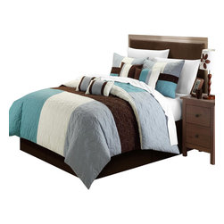 Chic Home - Zinfandel Blue / Brown Queen 8 Piece Comforter Bed in a Bag Set - This pieced quilted patchwork comforter set is so elegant yet sophisticated and modern. Color blocking tone on tone add a very colorful yet extra sharp look. Soft floral embroidered are also a plus to create that old world charm to any room Decor. Oversized and Overfilled.