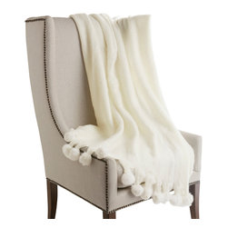 """Best Home Fashion - Rabbit Fur Pom-Pom Wool Throw, 50"""" x 60"""", White - CHAIR NOT INCLUDED."""