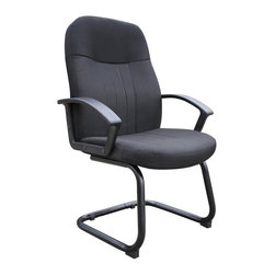 BOSS Chair - Mid-Back Reception Chair In Black Fabric w Lu - This ergonomically designed office chair would make a great seating option for guests or clients. With a sturdy, sled base and soft, fabric upholstery, this solid chair features a contoured mid-back design that offers lumbar support. A broad seat and curved arm rests complete this comfortable office chair that contributes to enhanced work efficiency. Passive ergonomic seating with built in lumber support two fabric colors. Matching guest chair for model (B8306). Cushion color: Black. Base/wood: Black. Seat size: 20.5 in. W x 19 in. D. Seat height: 19 in. H. Arm height: 26 in. H. Overall dimension: 25.5 in. W x 26 in. D x41 in. H. Weight capacity: 250 lbs