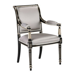 """Inviting Home - Regency Style Armchair - Regency style carved wood armchair; seat: 25""""W x 21-1/2""""D x 20-1/2""""H; back: 38-3/4""""H; arms: 28-1/4""""H; hand-crafted in Italy; Regency style carved wood chairs with black finish antiqued silverleaf trim. Chairs have grey upholstery. These upholstered chairs are hand-crafted in Italy."""