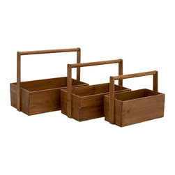 Contemporary Styled Wood Basket, Set of 3 - Description: