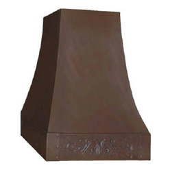 """myCustomMade - Custom Copper Range Hood """"Texas"""", Natural Fired, 30"""", Kitchen Island - Custom hammered design makes this custom copper range hood a great addition to the kitchen. Customize the modern copper hood by choosing natural fired, coffee, honey or antique finishing. """"Texas"""" style is produced as 30, 36 or 48 inches wide. Its depth is 22"""", height 36"""" and it takes about thirty days to deliver. Once purchased specify the hood 220000035 version as wall mount or kitchen island. Enjoy free delivery."""