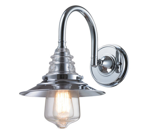 Elk Lighting - EL-66802-1 Insulator Glass 1-Light Sconce in Polished Chrome - The Insulator Glass Collection was inspired by the glass relics that adorned the top of telegraph lines at the turn of the 20th century. Acting as the centerpiece of this series is the recognizable shape of the glass insulator, made from thick clear glass that is complimented by solid cast hardware designed with an industrial aesthetic.