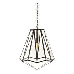 """Arteriors - Arteriors Edmond Pendant - Hexagonal shaped glass pendant with antique brass finished iron """"came"""" strips between each triangular glass shape. Consider an antique style bulb to create a subtle glow while featuring various filament designs."""