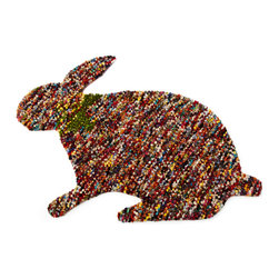 Confetti Bunny 2' X 3' - It doesn't have to be Easter or even spring to enjoy this adorable bunny. Hang him on the wall or use him as a small accent rug and enjoy the soft, natural texture of felted wool. He'd make a great gift for any animal lover.